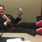 Geneva Mayor Burns wearing Kristoffer Socks