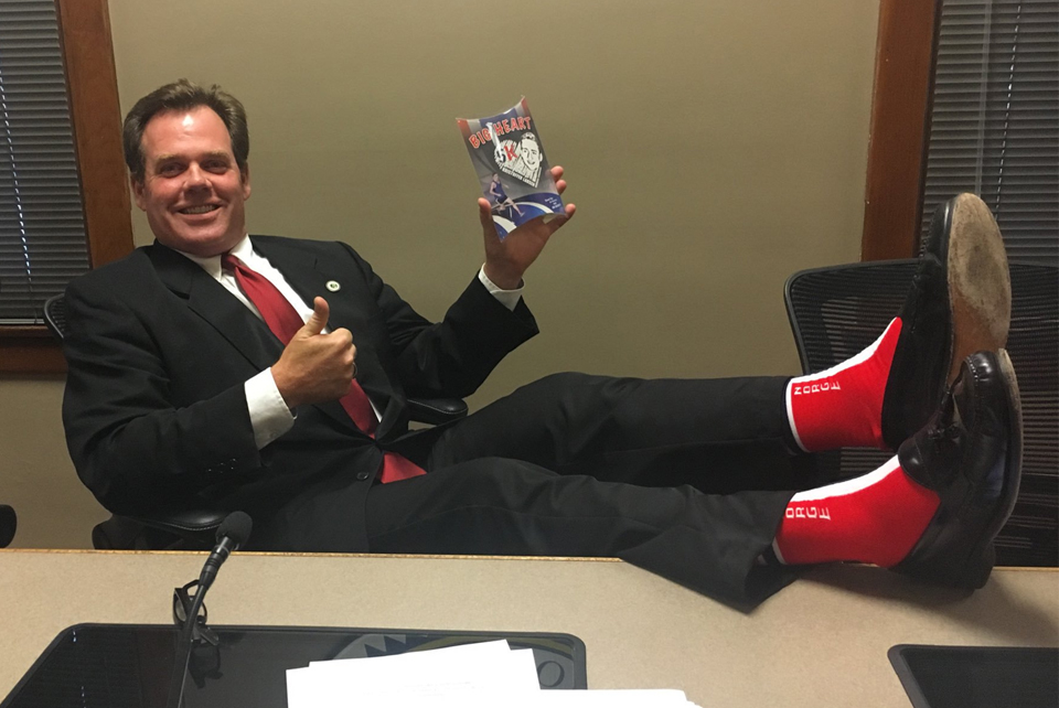 Geneva Mayor Burns wearing Kristoffer Socks